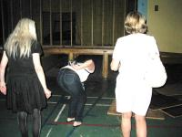 PEHS gym,  Nancy,  Lynn and Tanis checking under the stage