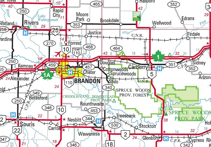 Map Of Brandon Mb Shilo Area Maps Map Of Brandon Mb